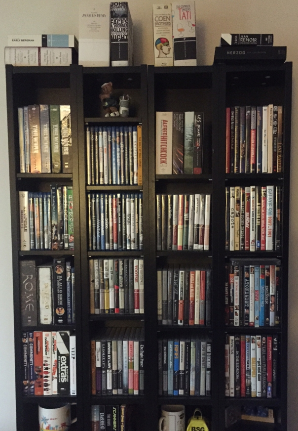 Criterions mixed in with TV (left shelf), wife's discs (right shelf) and various others.
